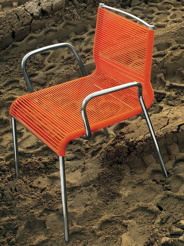 Metal armchair with orange PVC wire