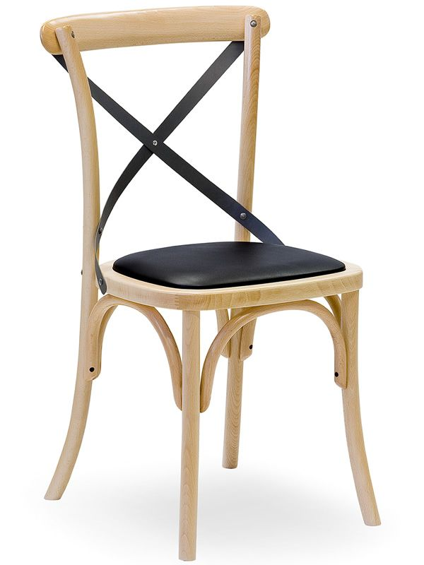 Wooden chair with iron backrest in anthracite colour varnished
