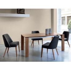 Maxim-182 - Domitalia wooden table, top in ceramic, glass or wood, 182 x 98 cm extendable