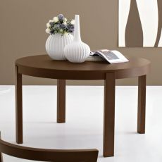 CB398-RD Atelier - Connubia - Calligaris extendable table in wood, round top diameter 130 cm, different finishes available