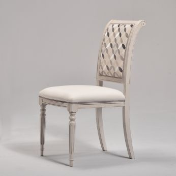 Gabri - Classic wooden chair, antique light dove grey lacquered, seat with Blooms Cotton Blend covering, backrest in Physalis