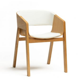 Merano 400 R - Design chair in oak wood, with seat upholstered in white imitation leather