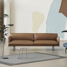 Outline - Three-seaters sofa Muuto, with metal legs, covering in fabric or leather