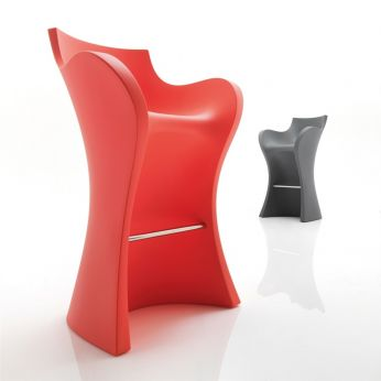 Woopy S - Stool for garden, in coral red and basalt grey colour