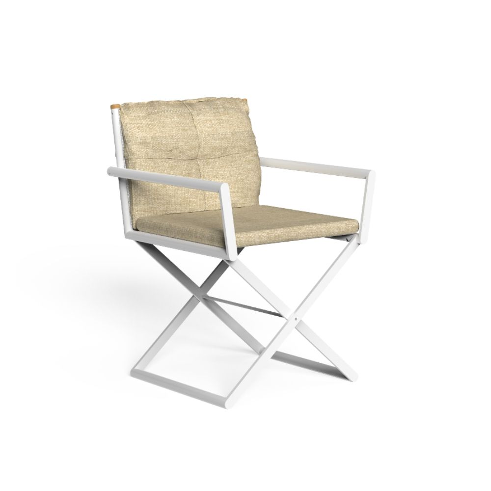 Outdoor folding chair with white varnished aluminium structure