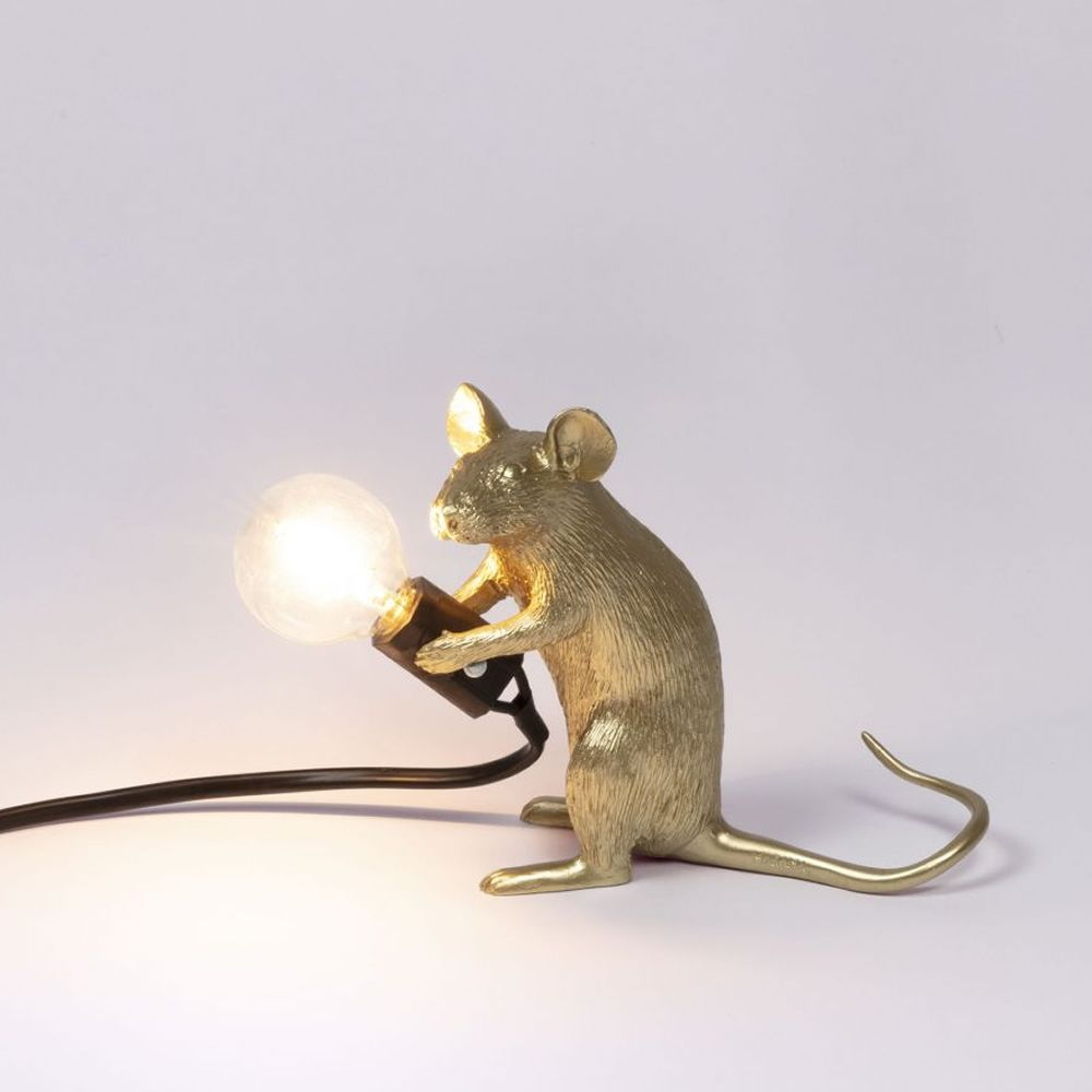 Mouse Lamp Sitting Color Oro