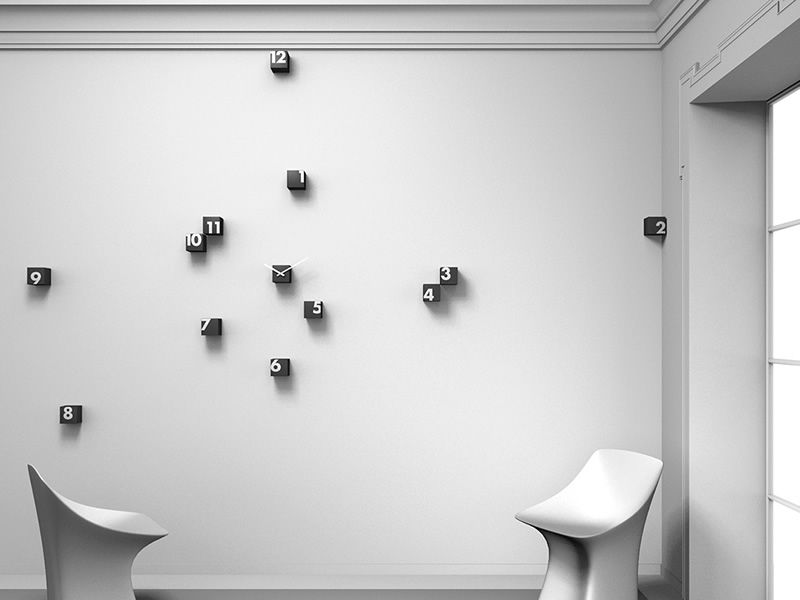 Wall clock in polyamide cubes