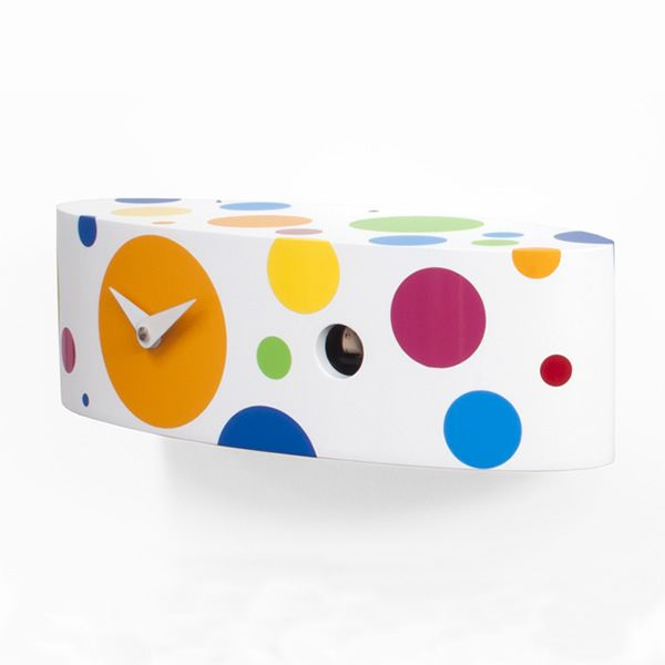 Cuckoo clock, white with colorful polka dots