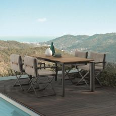 Domino - T - Garden table in aluminium, extendable teak top, available in several sizes