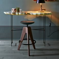 Tom - Colico stool in wood, swivel and adjustable, cork seat