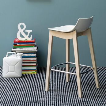 CB1541 Led W - Fixed stool made of whitened beech wood with glossy optic white SAN seat