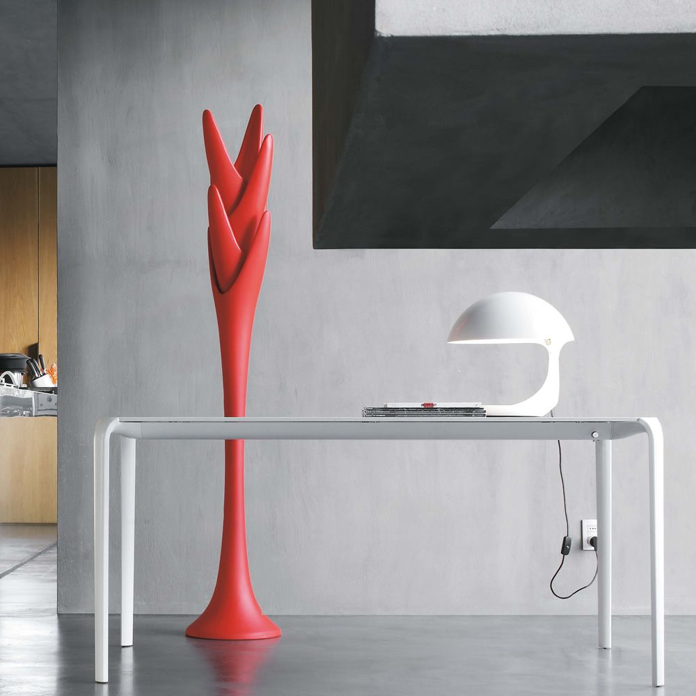 Coat stand made of red polyethylene, also for outdoor