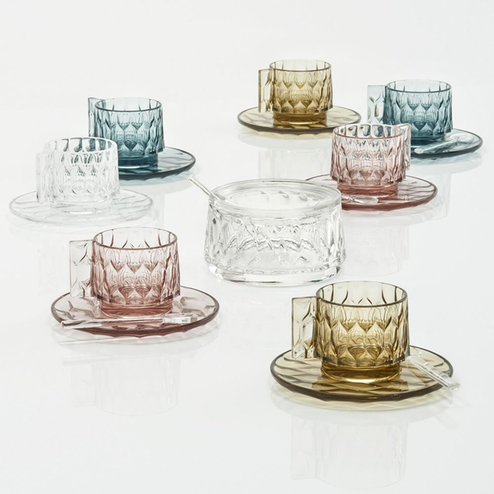 Kartell design sugar bowl in transparent technopolymer, matching with Jellies Family Coffee coffee cups