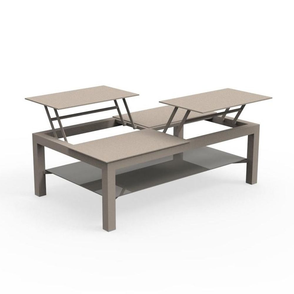 Garden coffee table, in dove grey colour (Size: large)