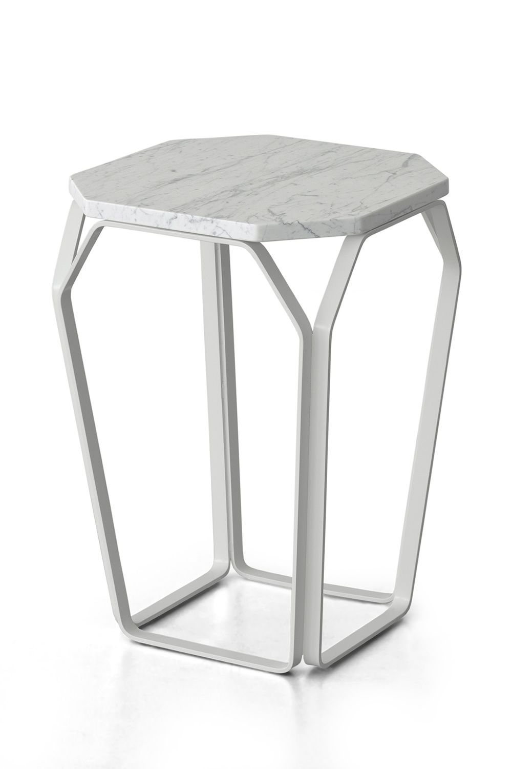 Small squared table in lacquered metal, white color