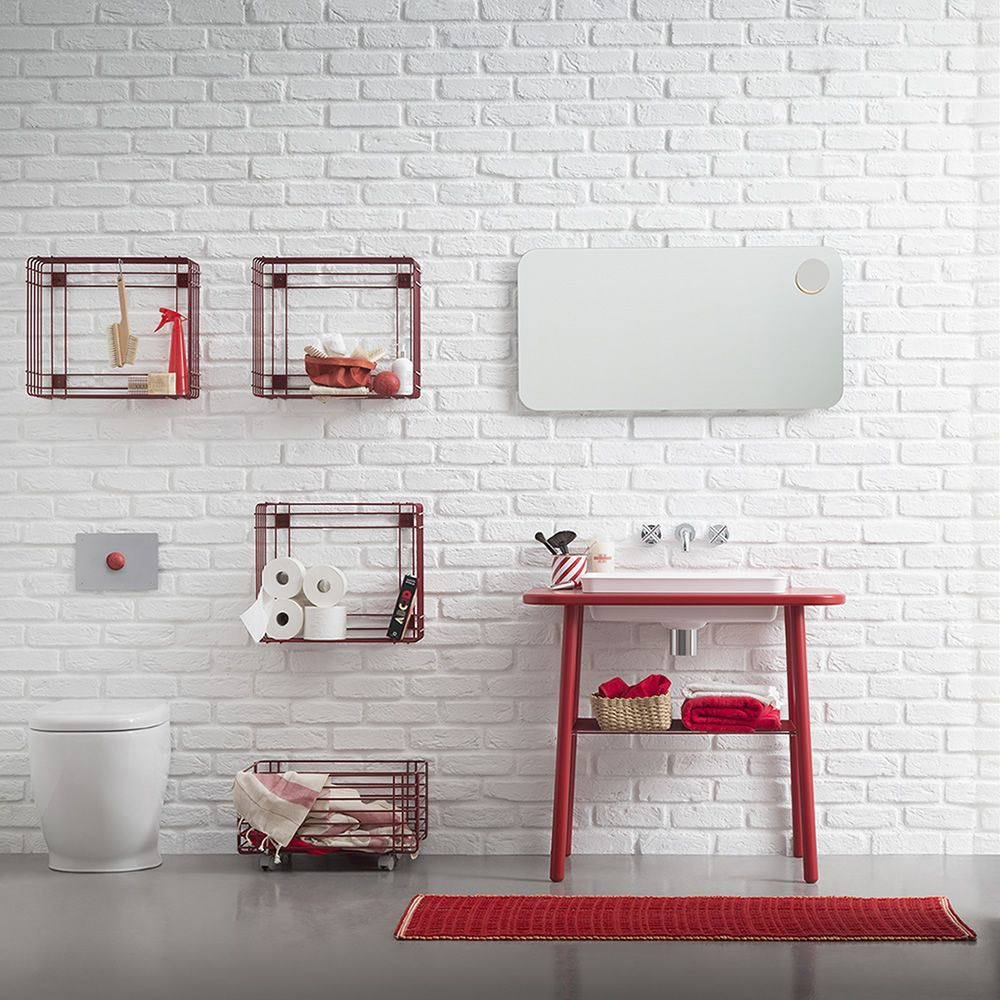 Rectangular mirror of 120 cm width, matching with Acqua & Sapone bath cabinet and Sapone S drying rack wall