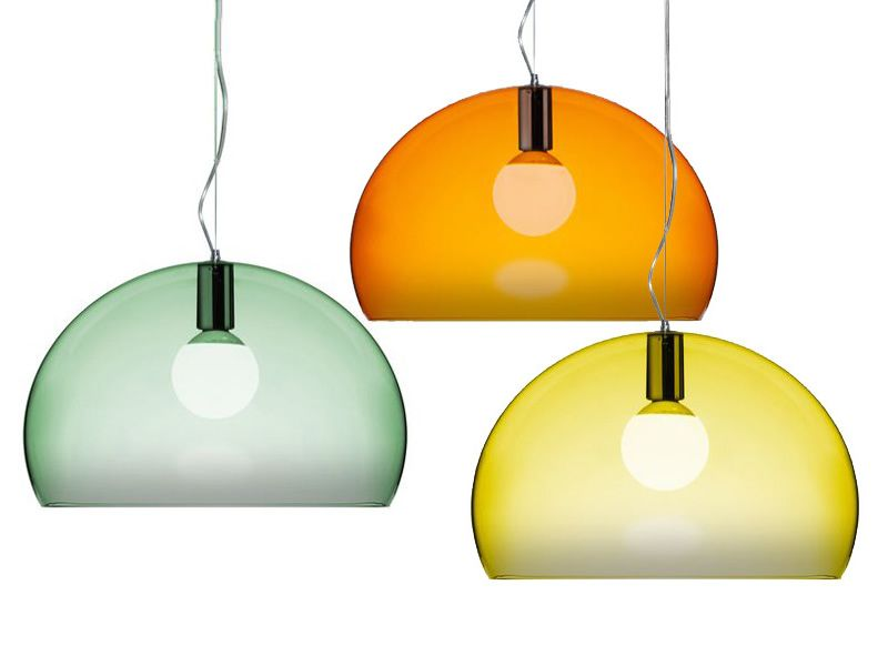 Design Kartell suspension lamps, in green, orange or yellow colour