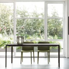 Light 8065 - Tonin Casa extendable metal table, laminate or glass top 140 x 90 cm, different finishes available