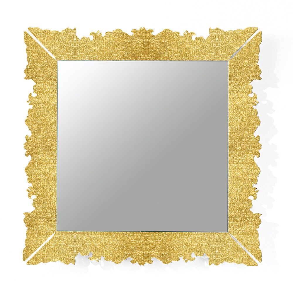 Mirror with frame in methacrylate, with golden fabric insert