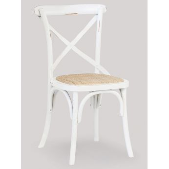 SE05 - Wooden chair in antique white laquered, straw seat