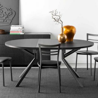 CB4739-E Giove - Extendable table made of grey varnished metal with ceramic top in stone colour