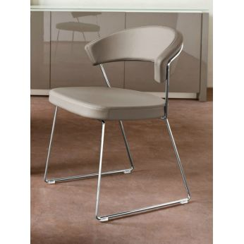 CB1022-SK New York - New York | Chromed metal chair with imitation leather covering, dove-grey colour