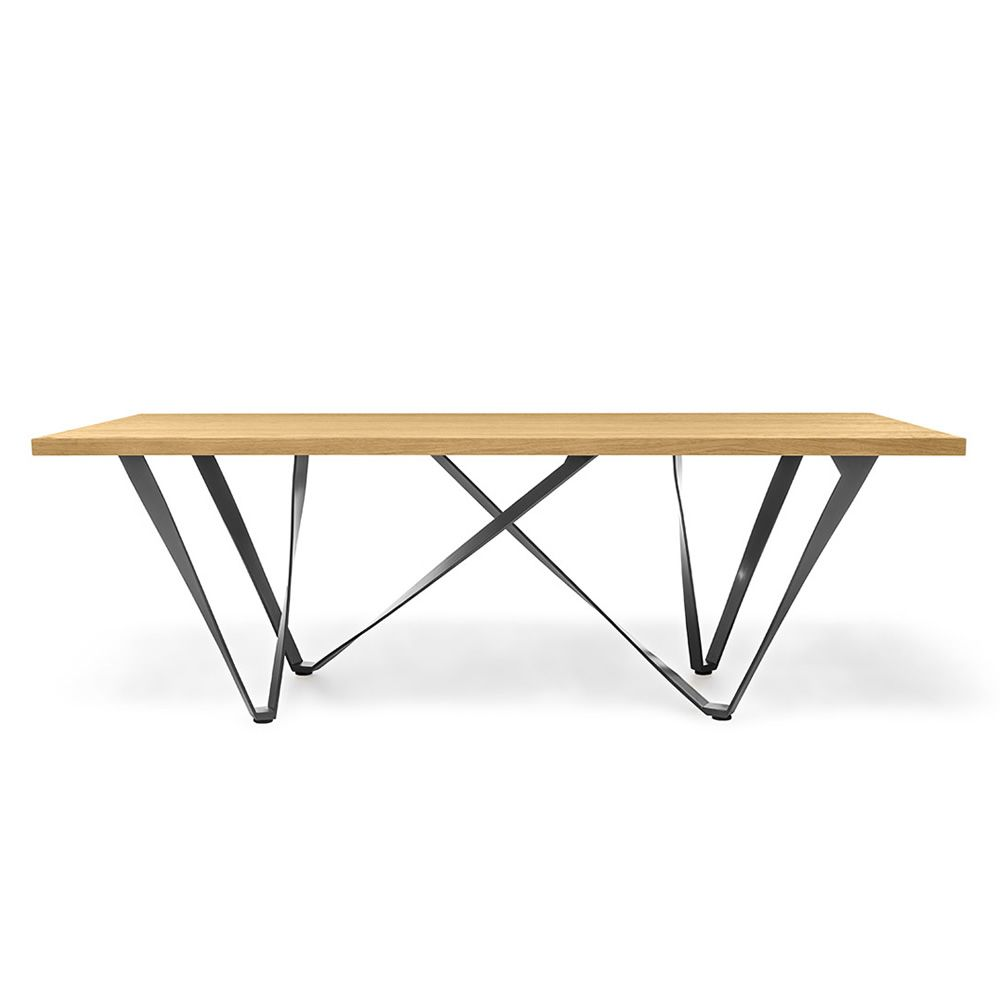 Table in metal enthracite grey laquered with top in natural oak