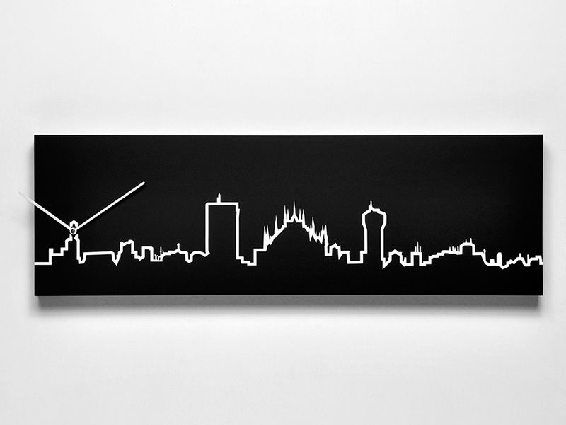 Wall clock in black colour wood, Milan skyline