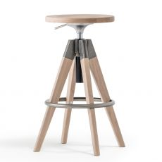 Arki-Stool - Modern swivel Pedrali stool, in wood and metal, adjustable in height and available in different colours