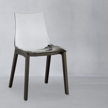 Natural Zebra 2805 - Modern chair in wengè dyed wood, with transparent polycarbonate seat
