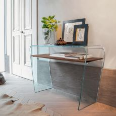 Altamura 6460 - Tonin Casa glass console with wooden or glass shelf, different finishes available