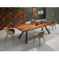 Zeus-W - Midj fixed table made of metal, wooden top, different finishes available
