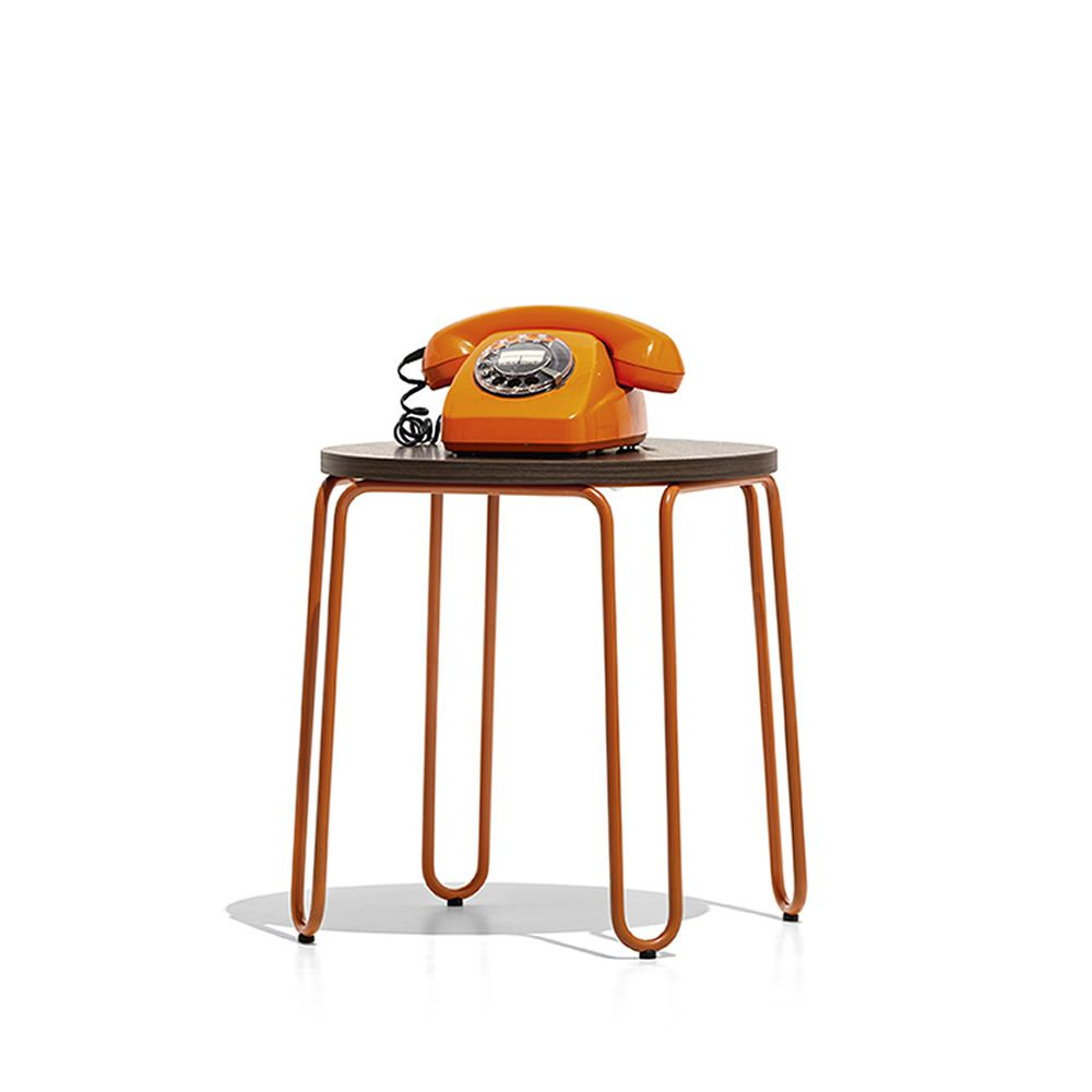 Connubia round metal coffee table, size S, saffron structure and tabletop in Termocotto finish