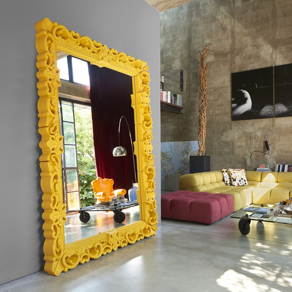 Polyethylene mirror in saffron yellow colour, different sizes available