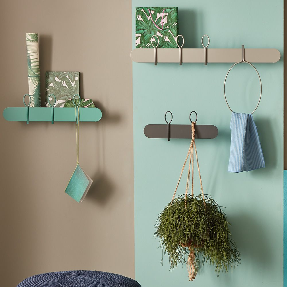 Shelf-coat rack in sage green varnished metal, matched with Balloon 45 and Balloon 90