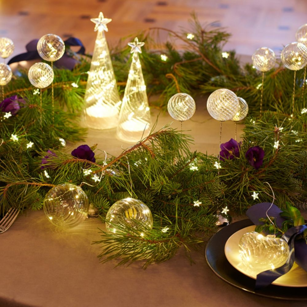 Glass decorations with small lights