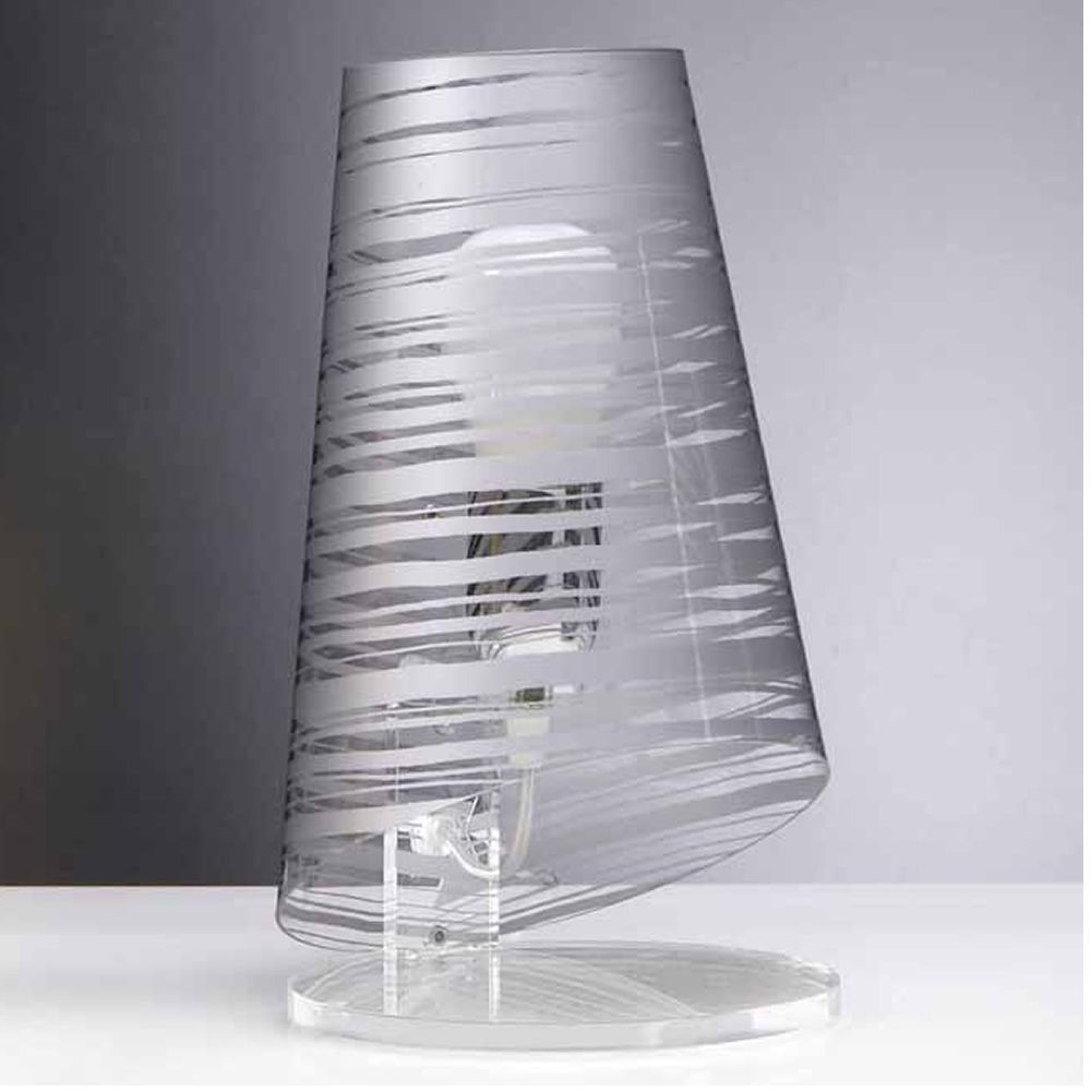 Table lamp in transparent decorated polycarbonate - silver decoration