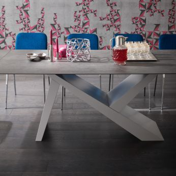 Akille Big - Extendable table in grey lacquered wood with grey Pietra di Savoia ceramic top