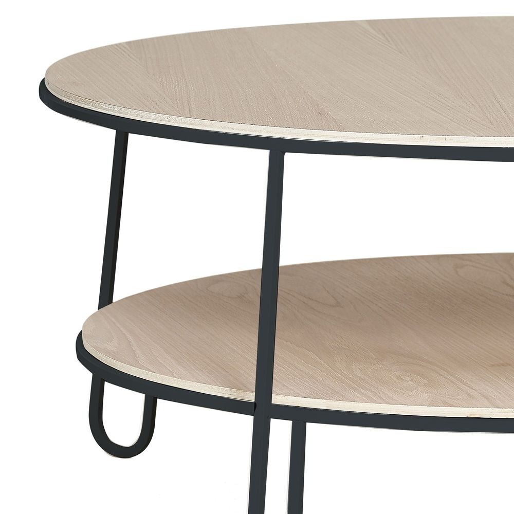 Sofa table in slate grey varnished metal, with wooden top, ∅ 90 cm, detail
