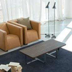 Inn2 Promo - Small design coffee table in metal, with wooden top, 130x60 cm