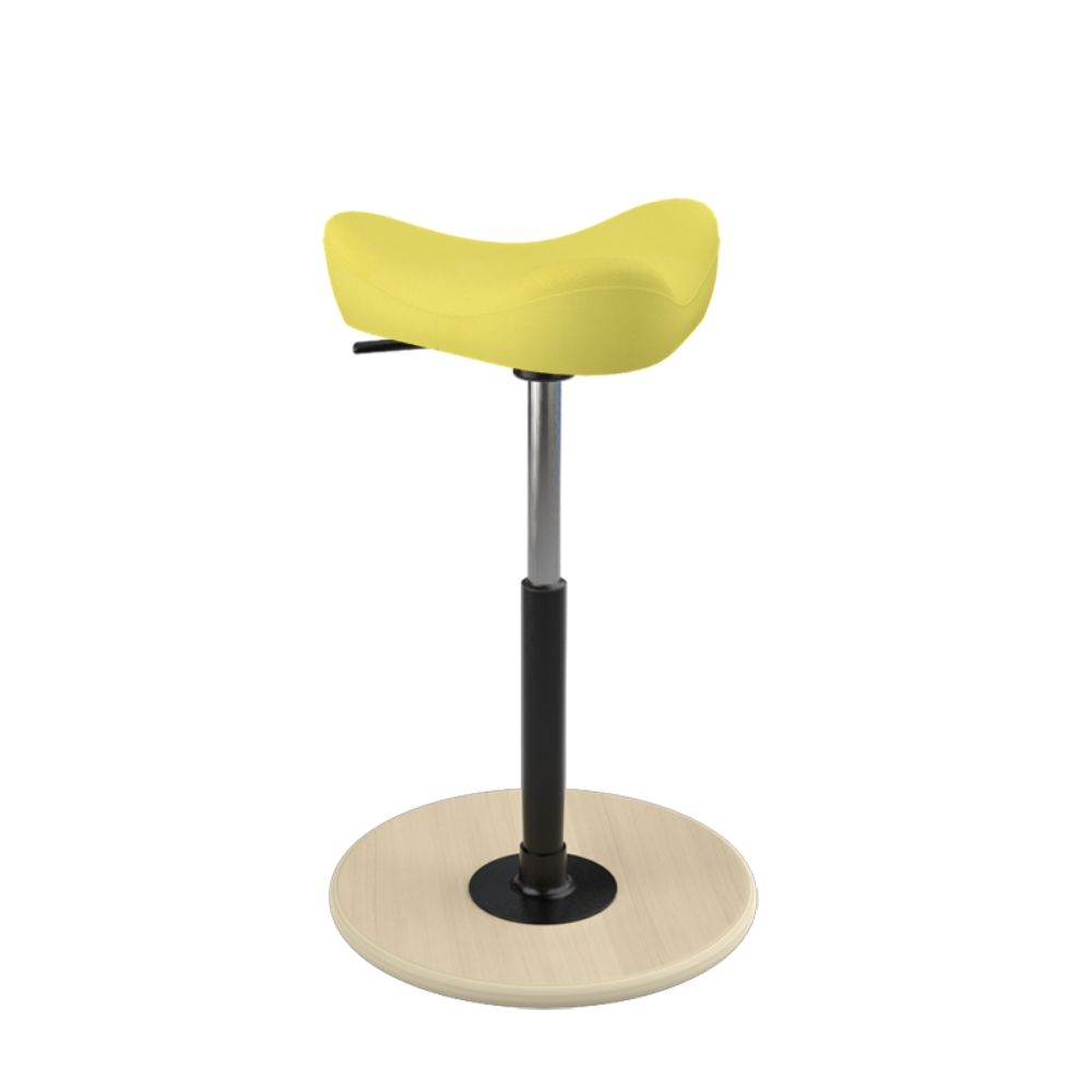 Ergonomic stool with natural wooden base and yellow upholstery