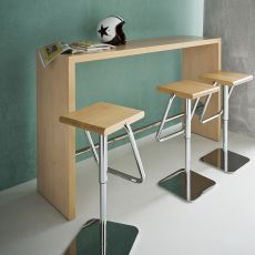 Break - High table with structure in laminated and footrest in chromed metal, height 110 cm, available different finishes