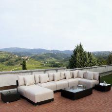Kit esterno 20 - Outdoor modular seats in aluminium and synthetic rattan, with padded cushions