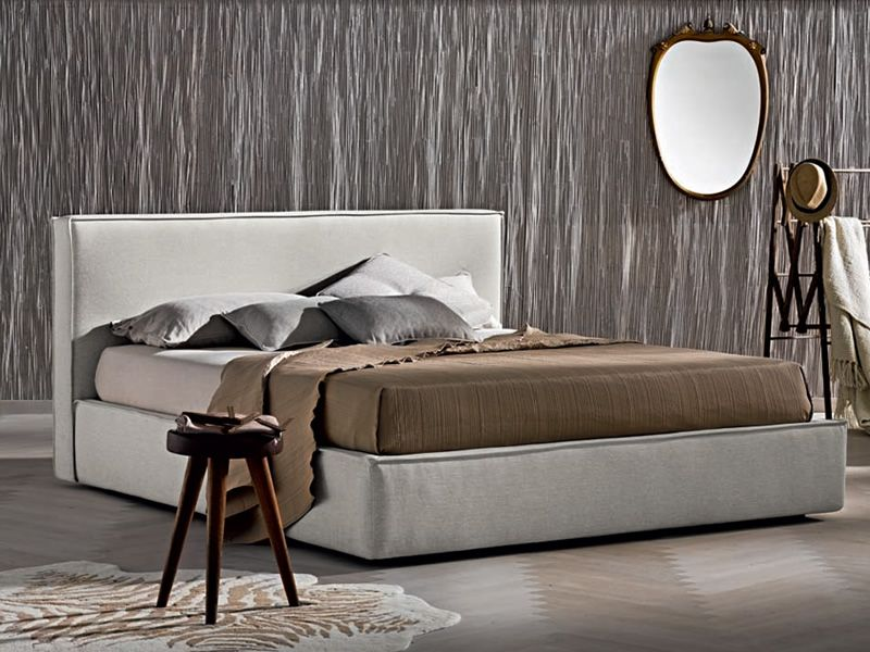 Modern padded bed, Alex (AL) fabric covering, colour code 9144