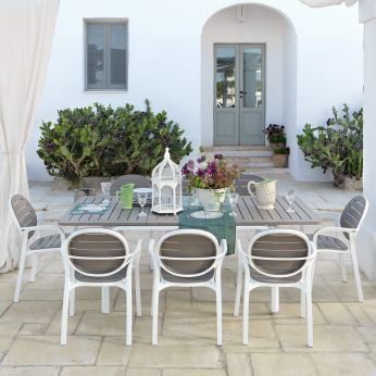 Alloro - Garden table in white - dove grey colour, 210 x 100 cm, matching with Palma armchairs