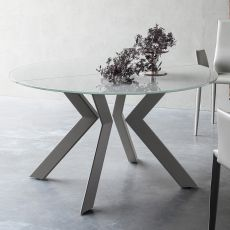 Armenida - Round design table, fixed or extendible, with metal structure, top in glass, different sizes