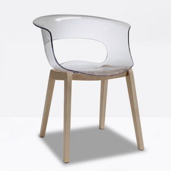 Natural Miss B 2800 - Wooden armchair with transparent seat