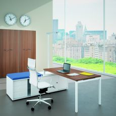 Idea CA-02 - Office desk with service cabinet, in metal and laminate, available in different dimensions