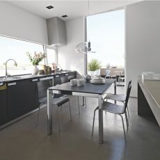 CB4010 130 Baron C - Connubia - Calligaris metal table, different tops available, 130 x 85 cm extendable