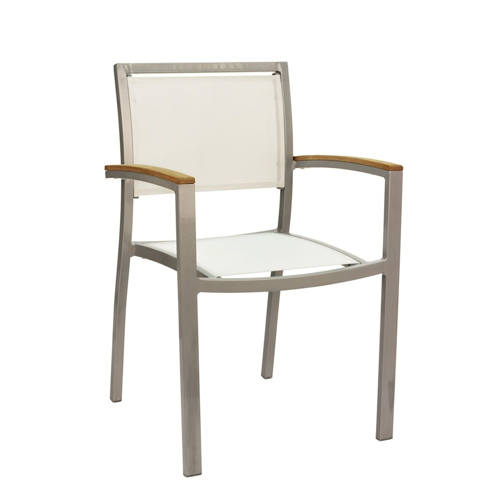 Stacklable chair made of grey varnished aluminium, seat and backrest in white textilene, techno-wood details, for outdoor